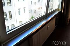 Edelstahlverkleidung für die Fensterbank